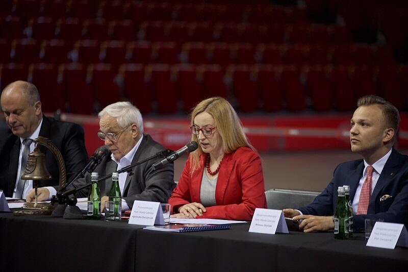 Od lewej: wiceprzewodniczący Rady Miasta Sopotu Piotr Bagiński i przewodniczący RMS Wiaczesław Augustyniak oraz przewodnicząca Rady Miasta Gdańska Agnieszka Owczarczak i wiceprzewodniczący RMG Mateusz Skarbek