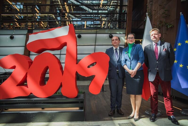 O obchodach rocznicy 4 czerwca 1989 roku mówili (od prawej): Basil Kerski - dyrektor ECS, Aleksandra Dulkiewicz - prezydent Gdańska, Jacek Bendykowski - Fundacja Gdańska