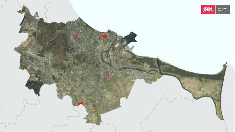 Na mapie zaznaczone cztery miejsca, które będą tematem dyskusji publicznych w siedzibie Biura Rozwoju Gdańska
