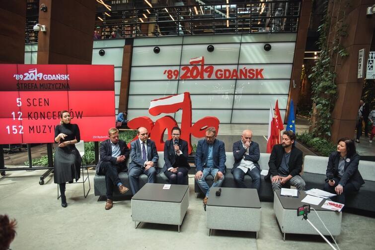 Konferencja prasowa Święta Wolności i Solidarności, w Europejskim Centrum Solidarności, podczas której organizatorzy zdradzili szczegóły dotyczące programu muzycznego obchodów