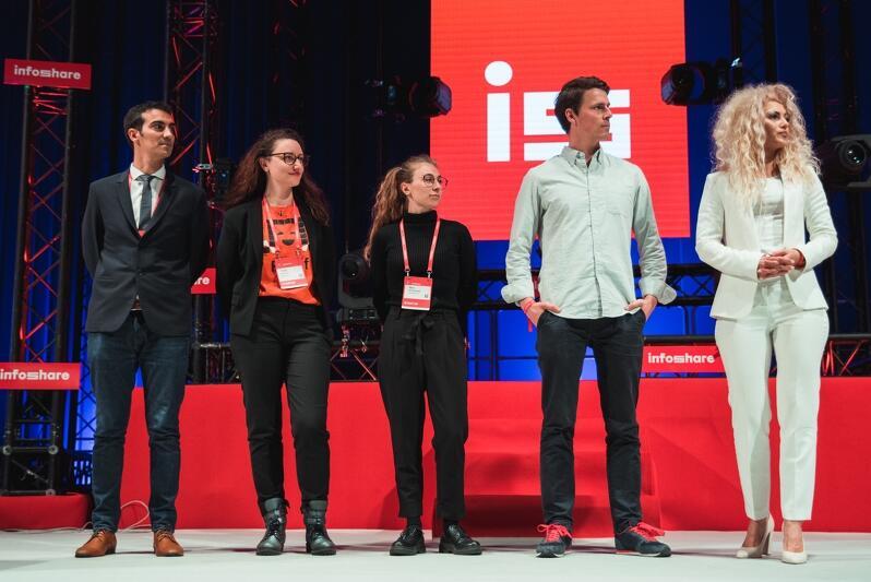 Tuż przed ogłoszeniem wyników: Sebastian Cerone, Tjaša Jerman, Alice Michelangeli, Jerome Flint i przedstawicielka startupu Blitab