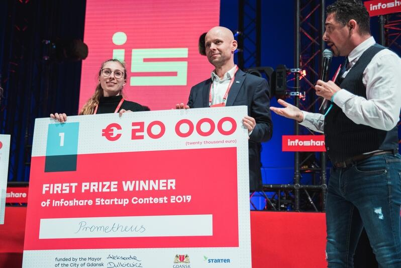 Od lewej: Alice Michelangeli - Prometheus oraz Alan Aleksandrowicz, z-ca prezydenta Gdańska ds. inwestycji