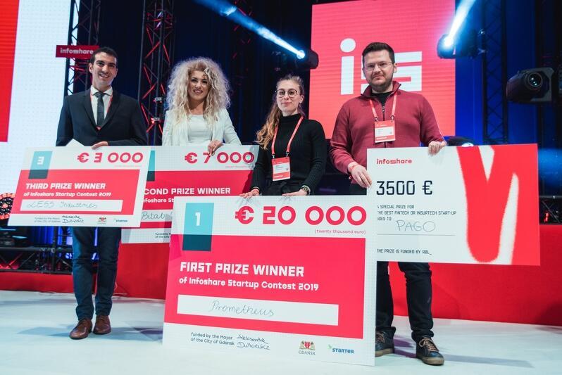 W tym roku pula nagród Startup Contest Infoshare wzrosła do 30 tys. euro - stąd trzy czeki w rękach zwycięzców. Czwarty trzyma przedstawiciel startupu Pago - laureat nagroda specjalnej ufundowanej przez RBL_VC, fundusz inwestycyjny Alior Banku