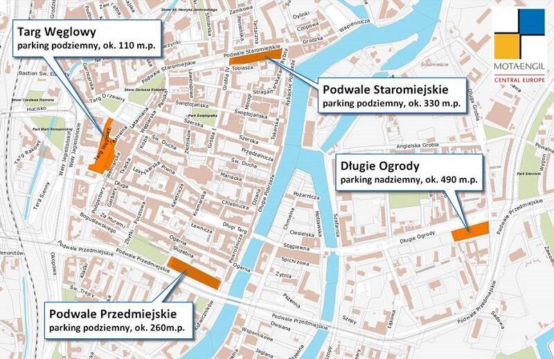 Rozmieszczenie planowanych parkingów w śródmieściu