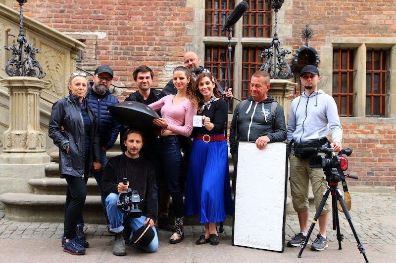 Ekipę filmową można było spotkać m.in. przy Ratuszu Głównego Miasta...