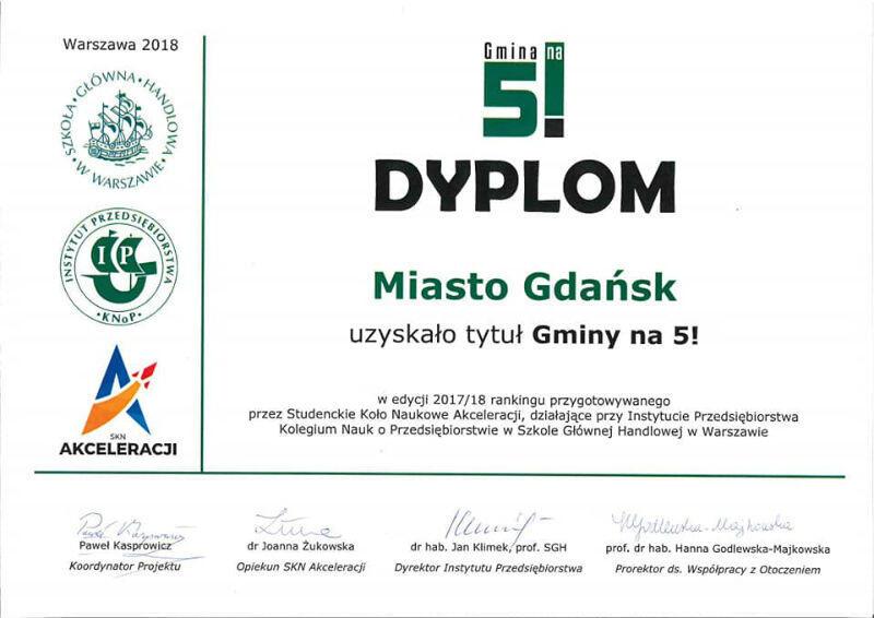 Dyplom dla Gdańska z ubiegłorocznej edycji 2017/2018