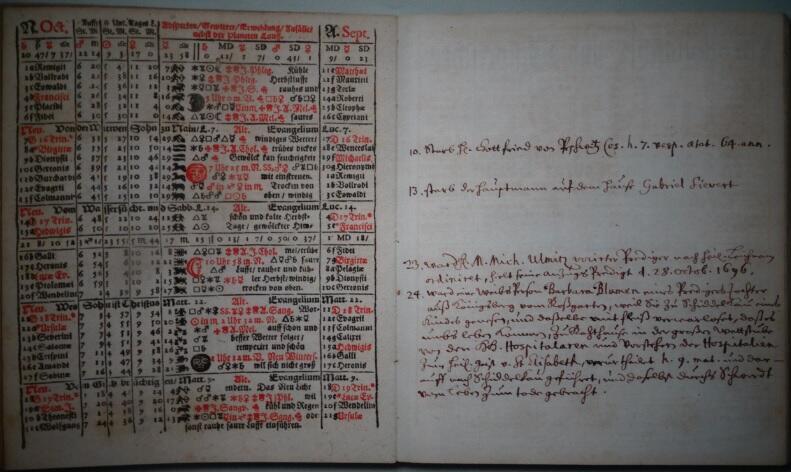 Puste strony kalendarza służyły właścicielowi do prowadzenia prywatnych zapisków
