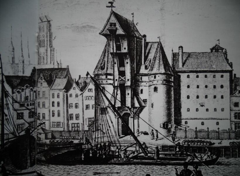 Wielki Żuraw podczas stawiania masztu na szkucie wiślanej; fragment sztychu J. E Schustera według rysunku F. A. Lohrmanna