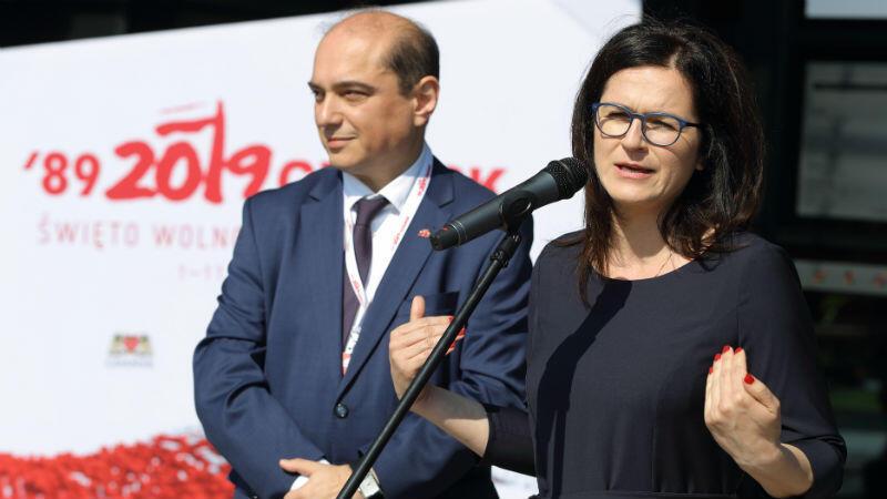 Dyrektor ECS Basil Kerski i prezydent Gdańska Aleksandra Dulkiewicz