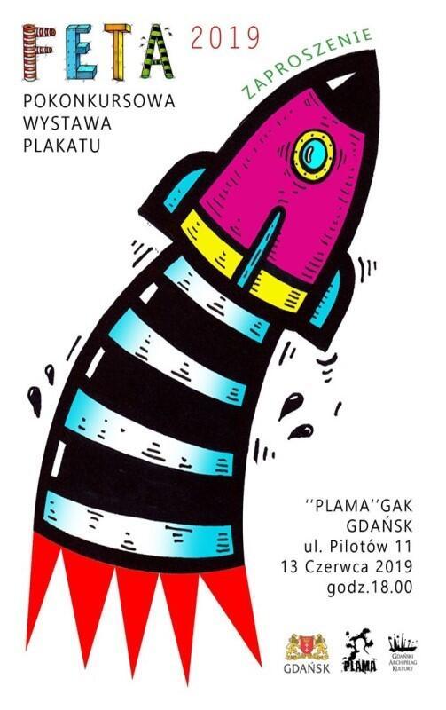 Pokonkursową wystawę plakatu FETA 2019 możemy oglądać do końca wakacji w klubie Plama GAK za Zaspie