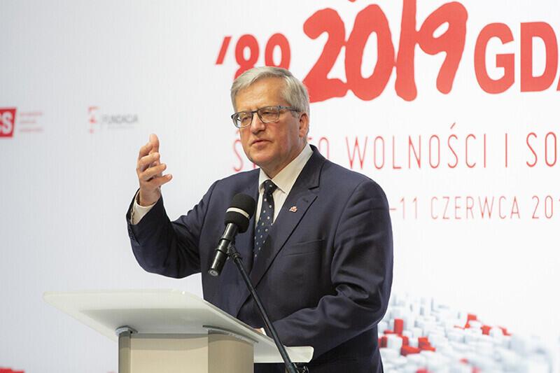 30 lat polskiej demokracji. Spotkanie z okazji rocznicy częściowo wolnych wyborów 4 czerwca 1989 r. Gdańsk, Europejskie Centrum Solidarności. Nz. były Prezydent RP Bronisław Komorowski
