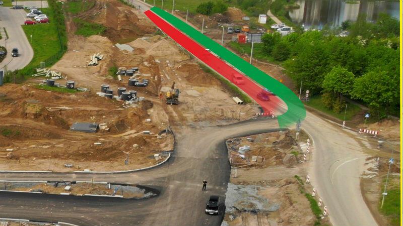 Na czerwono i zielono zaznaczone fragmenty drogi, które zostaną zamknięte i otwarte dla kierowców