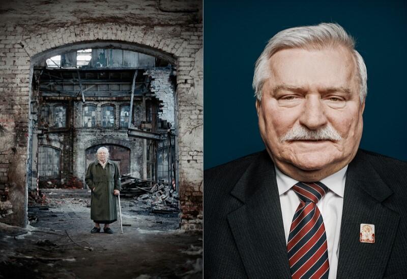 Portrety Anny Walentynowicz i Lecha Wałęsy z cyklu Bohaterowie Solidarności