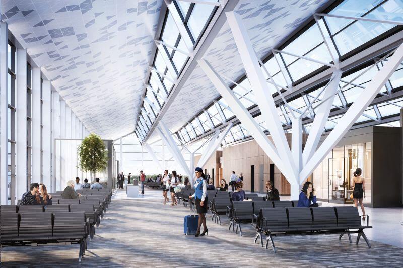 Wizualizacja wnętrza terminala T2 w Porcie Lotniczym im. L. Wałęsy w Gdańsku