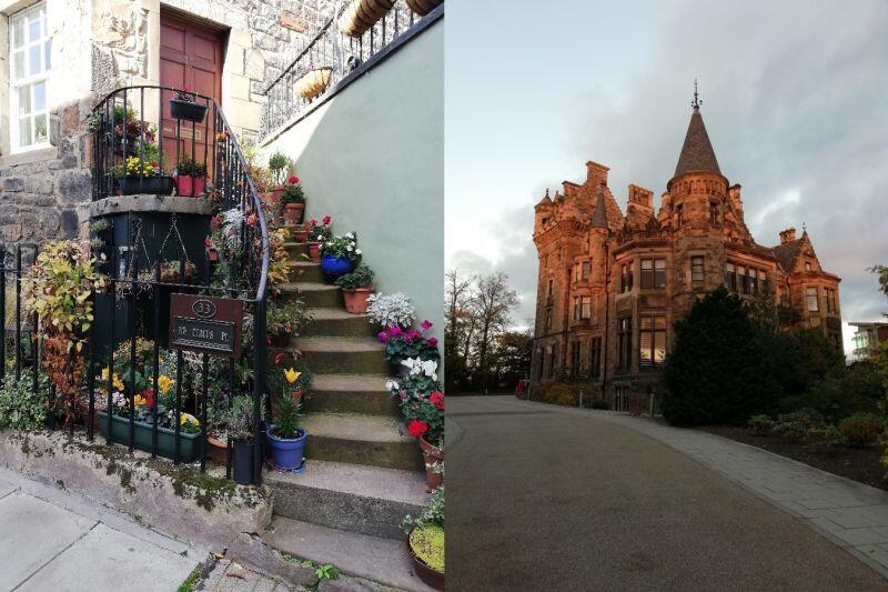 Niektóre z miejsc, a za które lubię Edynburg: udekorowane schodki na ulicy India Place oraz prywatny pałacyk w kompleksie akademików Pollock Halls