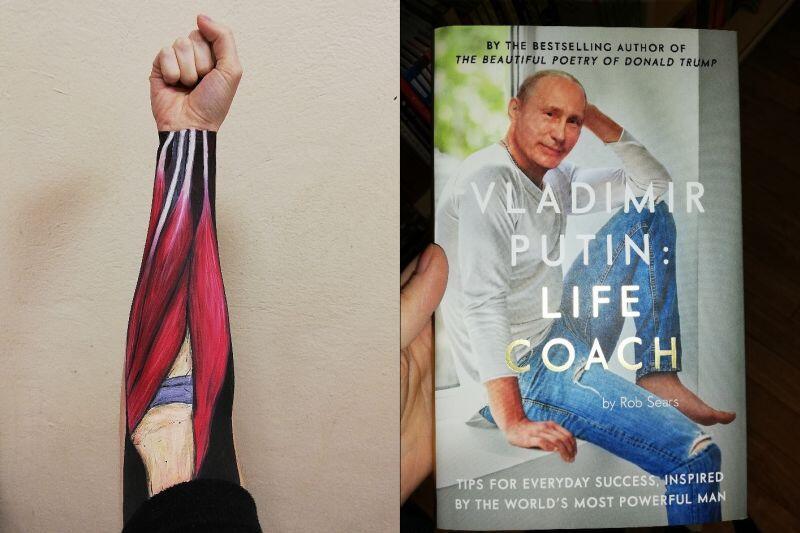 """Moje pojęcie o """"zaprzątaniu sobie głowy czym innym"""", po lewej: malowanie anatomii ręki na ręce (kto by się spodziewał) z klubem studenckim """"ArtBeat"""", po prawej: czytanie dziwnych książek, jak na przykład """"Włodzimierz Putin: Trener życiowy"""""""