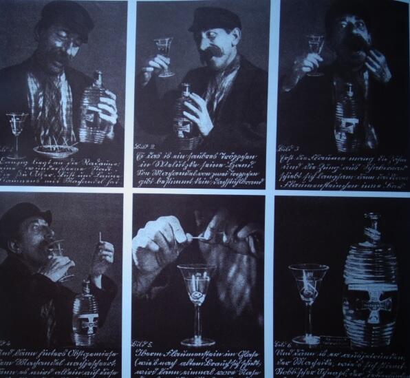 Aktor Gustav Nord demonstruje rytuał picia trunku według przyjętych zasad