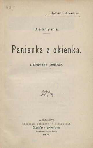 Strona tytułowa wydania z 1898 roku