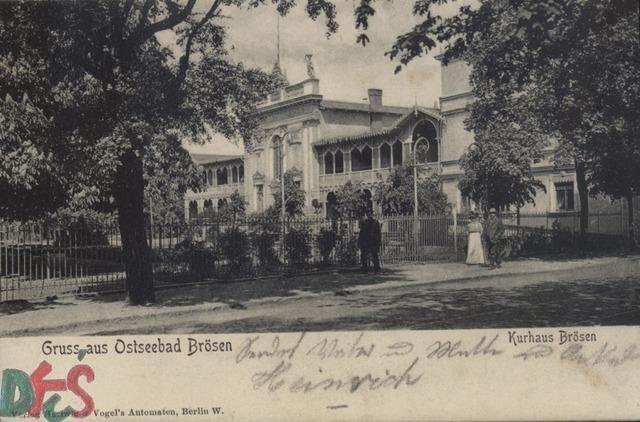 Pozdrowienia z Domu Zdrojowego w Brzeźnie - pocztówka wysłana w 1904 r.