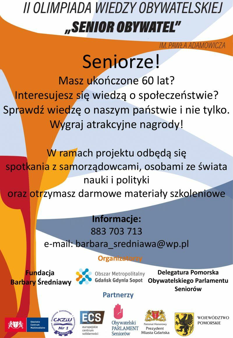 Plakat II Olimpiady Senior Obywatel  autorstwa Wiktorii Holewy