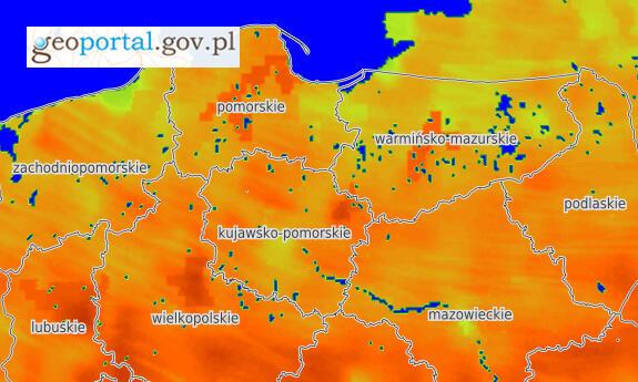 Screen z serwisu `Monitoring i prognoza warunków glebowych` udostępnianego na Geoportalu