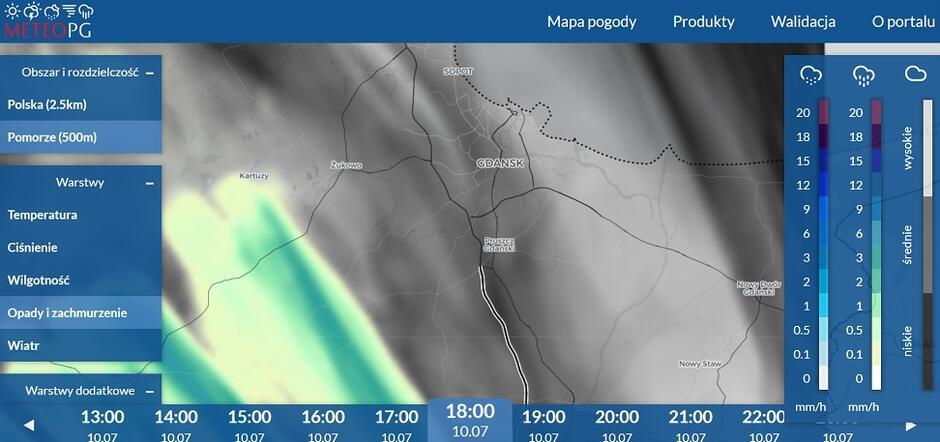 Serwis pogodowy METEOPG - fragment prognozy opad deszczu dla Pomorza