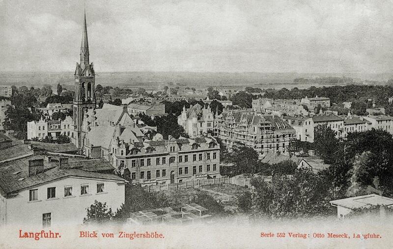 Panorama z tarasu widokowego restauracji Zinglera na Górze Jana, 1904 r., ostatnie chwile wiejskiej sielskości Wrzeszcza