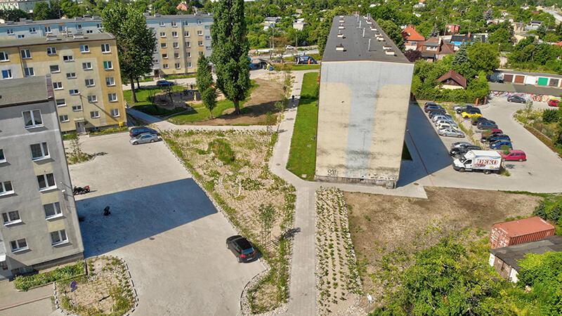 Na Stogach zakończył się pierwszy etap większego miejskiego projektu odwodnienia podwórzy w tej dzielnicy