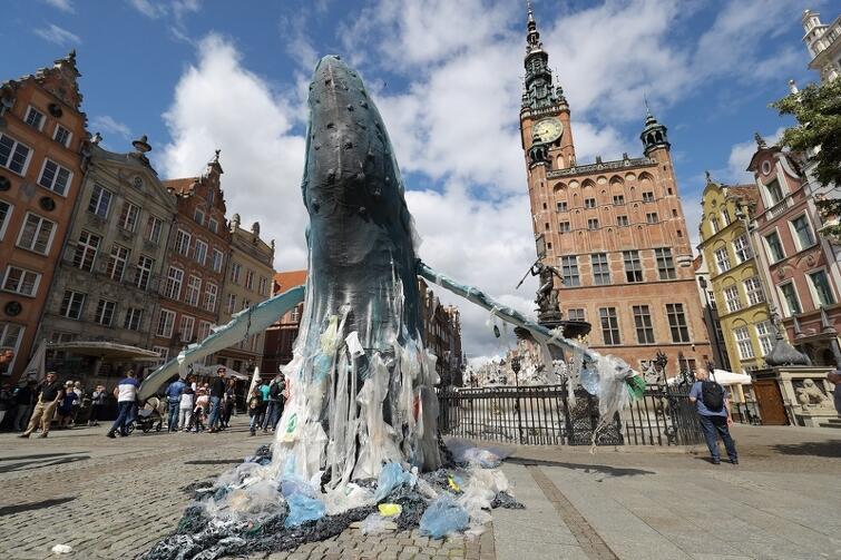 W ramach akcji Polska #BezPlastiku Greenpeace Polska, na Długim Targu w Gdańsku stanęły dwie olbrzymie rzeźby wielorybów zaplątane w plastikowe odpady