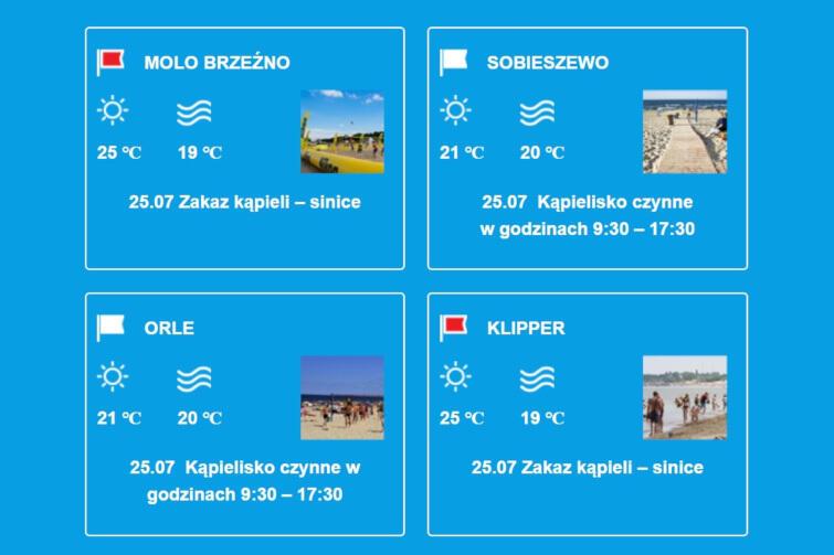 Warunki na kąpieliskach w Gdańsku w dniu 25 lipca