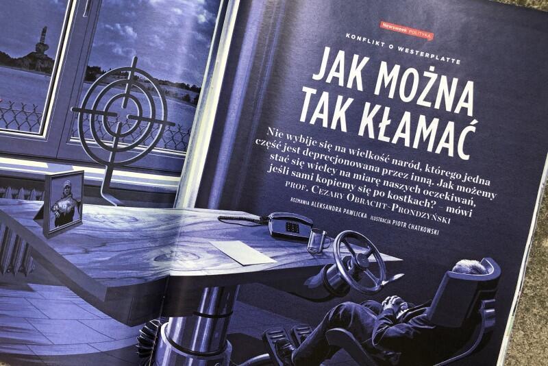 Strona tytułowa wywiadu, przeprowadzonego z prof. Cezarym Obracht-Prondzyńskim przez tygodnik Newsweek