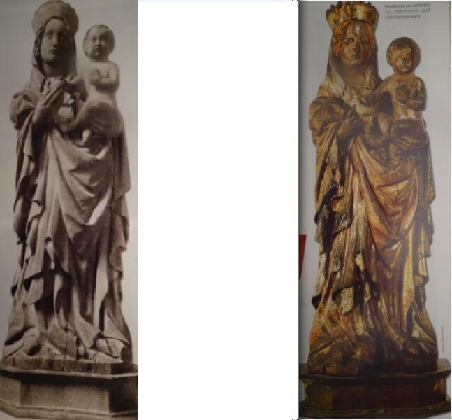 Madonna z niszy przy Bramie Korkarzy – po lewej: stan sprzed 1938 roku; po prawej: po odsłonięciu polichromii podczas konserwacji na początku XXI wieku
