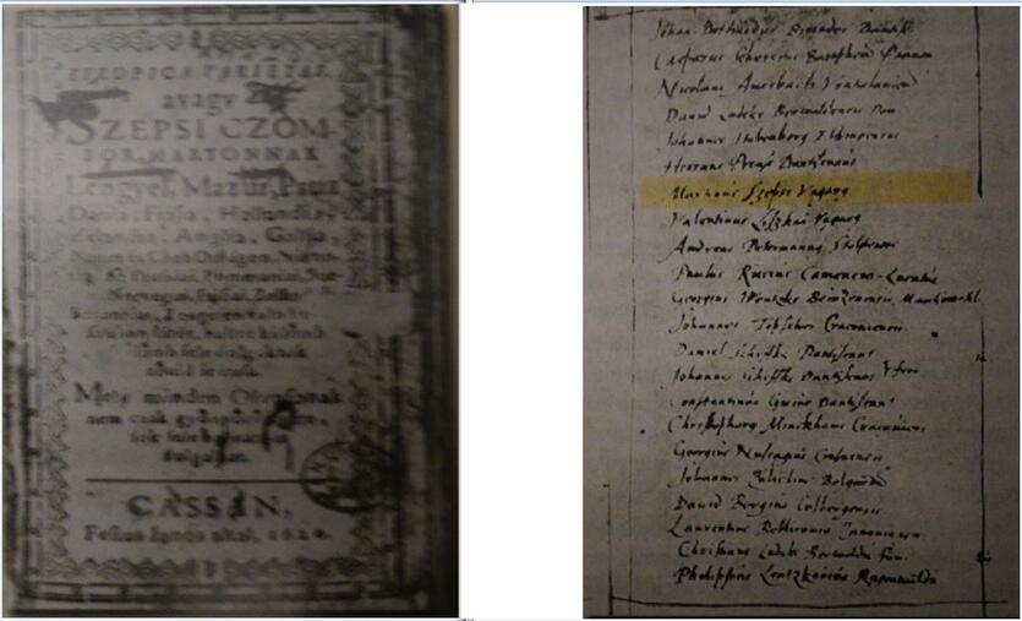 """Po lewej: strona tytułowa pierwszego wydania """"Europa Varietas""""; po prawej: Lista uczniów gimnazjum gdańskiego, Csombor wymieniony jako siódmy od góry"""
