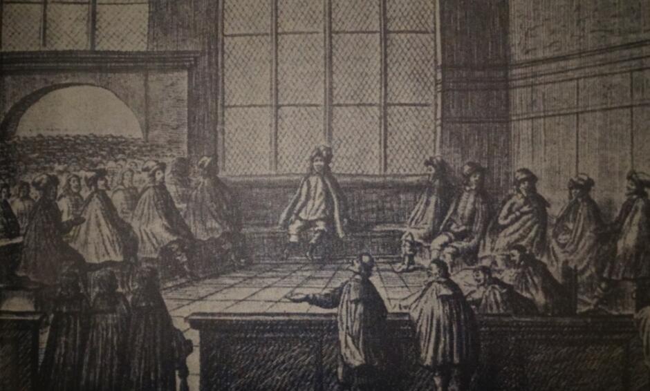 Scena sądu w sali Dworu Artusa, miedzioryt z 1650 roku