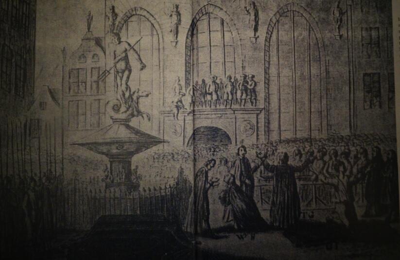 Rozpoczęcie egzekucji na Długim Targu, miedzioryt z 1650 roku