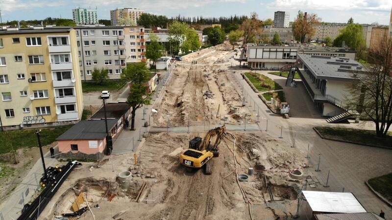 Ul. Stryjewskiego na Stogach w trakcie remontu