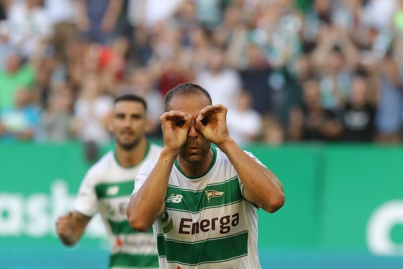 Kapitan Lechii Flavio Paixao po strzeleniu bramki z karnego przeciwko Brøndby IF. Jak będzie dzisiaj, w meczu rewanżowym?