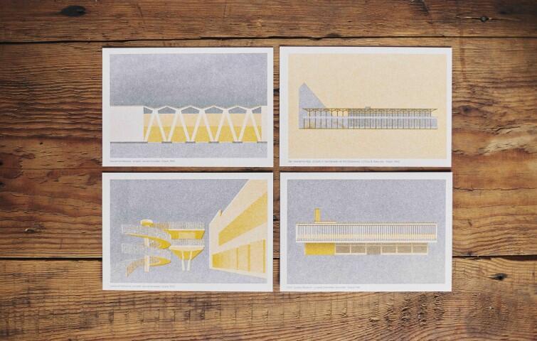 Pocztówki Michała Pecko z ilustracjami pawilonu meblowego LOT, budynku Teatru Wybrzeże, Hali widowiskowo-sportowej Olivia i słynnego Dolarowca