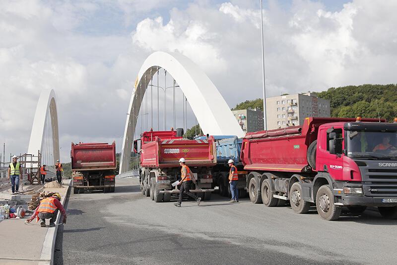 W czwartek rozpoczęły się próby obciążeniowe nowego wiaduktu Biskupia Górka