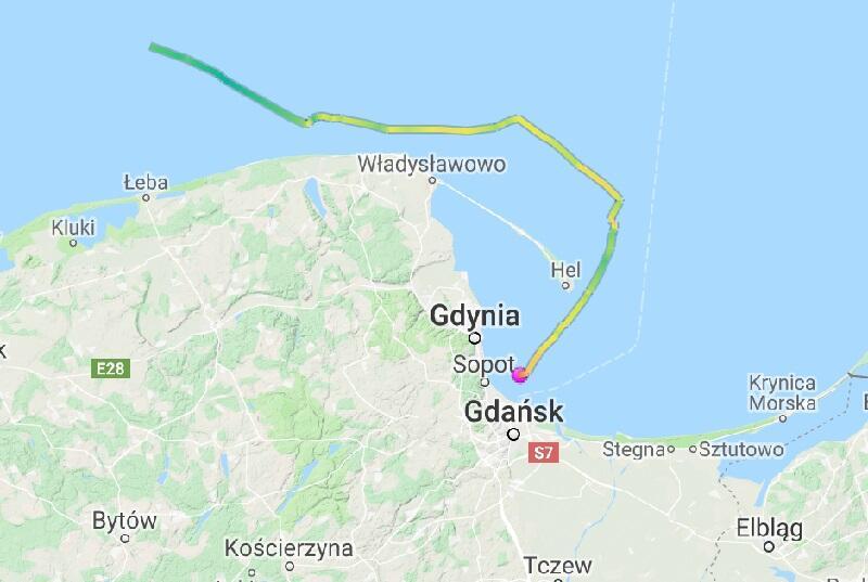 Trasa w ostatnich godzinach rejsu Black Pearl do Gdańska. Na tym odcinku jacht osiągał maksymalną prędkość 17 węzłów