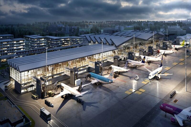 Wizualizacja nowego pirsu od strony płyty lotniska. Po prawej widać istniejąca już część Terminalu T2. Bezpośrednio za budynkami przebiega linia Pomorskiej Kolei Metropolitalnej