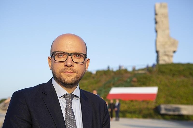 Manuel Sarrazin, poseł Bundestagu z partii Zielonych na Westerplatte, 1 września 2019 r.