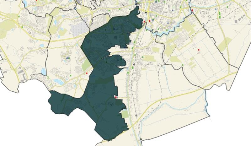 Dzielnica Chełm jest położona we wschodniej części dzielnicy urbanistycznej Południe