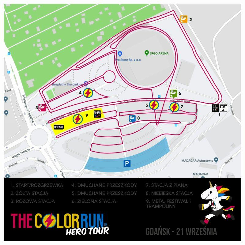 Plan sytuacyjny The Color Run 2019 w Gdańsku