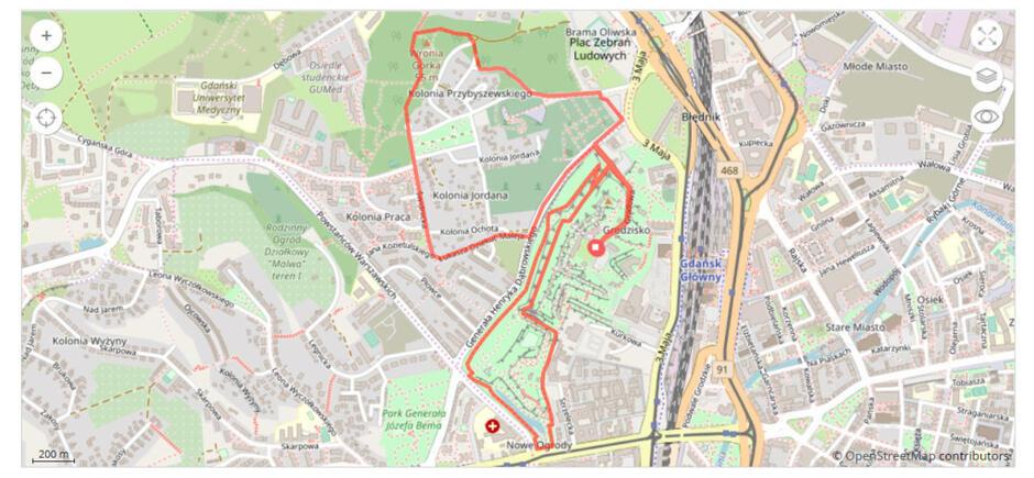 Mapa biegu Race for the Cur na dystansie 5 km, 29 września 2019.
