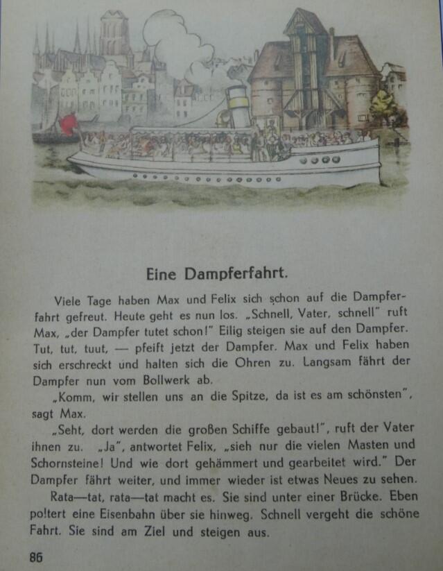 Jeden z dłuższych tekstów w elementarzu zilustrowany został widokiem Żurawia nad Motławą