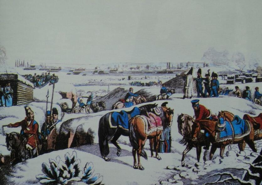 Wojsko rosyjskie na przedmieściach Gdańska w 1813 roku, akwaforta J. Fleischmanna