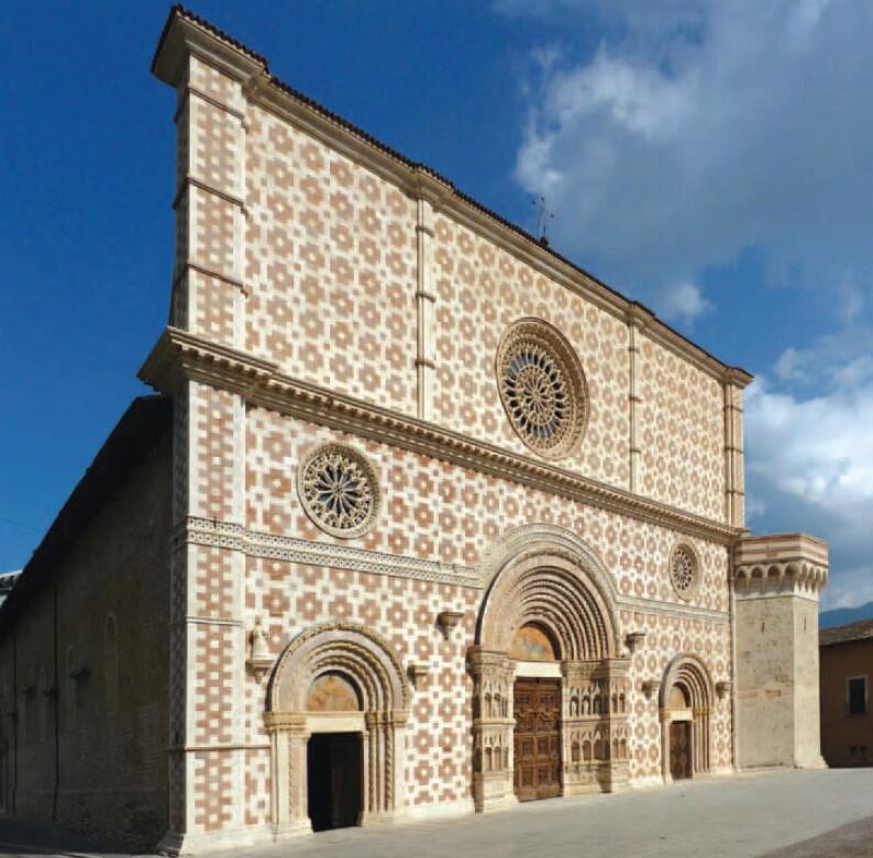 Kościół Santa Maria di Colemaggio w L'Aquila, w którym wiszą obrazy olejne Carla Rutharta; malarz mieszkał w nieistniejącym dzisiaj budynku klasztornym położonym w pobliżu kościoła