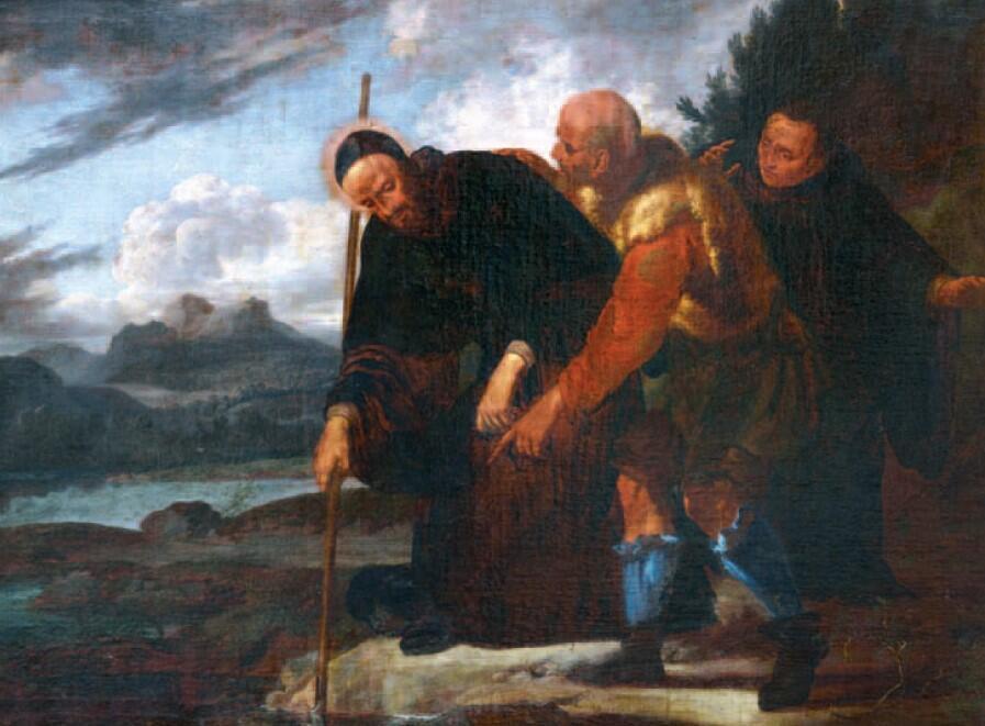 """""""Święty Benedykt wyławia motykę z mokradła"""", olej malowany na płótnie"""