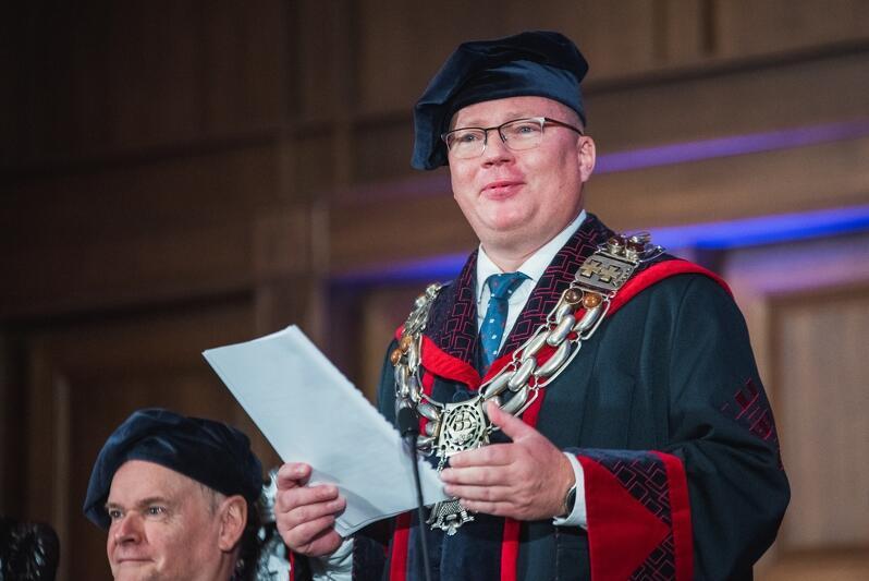 Prof. Krzysztof Wilde rektor Politechniki Gdańskiej podczas inauguracyjnego wystąpienia, 1 października 2019 r.